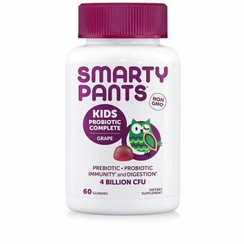 SmartyPants Kids Probiotic Complete Daily Gummy Vitamins; Probiotics & Prebiotics; Gluten Free, Digestive & Immune Support*; 4 billion CFU, Vegan, Non-GMO, Grape Flavor, 60 Count (30 Day Supply)