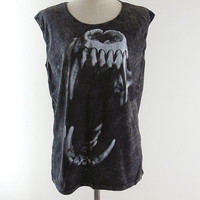 Tiger Fang Shirt -- Tiger Fang T-Shirt Fang T-Shirt Bleach Shirt Tank Top Women Shirt Tunic Vest Top Women Sleeveless Singlet Size M