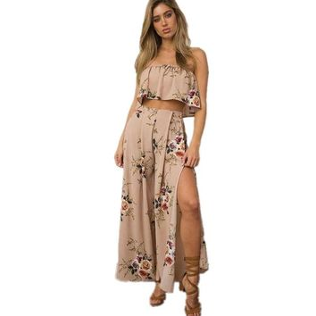 Floral Printed Crop Top With Split Front Maxi Pant Skirt Two Piece Sets