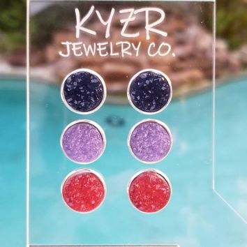 Druzy earring set- Navy/ Lilac and Watermelon drusy stud set