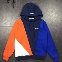 DCCKB62 PALACE Fashion Casual Woman Men Fashion Hoodie Top Sweater Pullover Dark Blue+Orange G