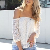 Sexy Women's Lace Off-shoulder Fashion Sleeve Party Cocktail T-Shirt Blouse Tops
