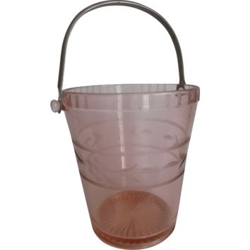 Elegant Pink Glass Ice-Bucket Cut Etched Flowers Metal Handle Vintage Decor