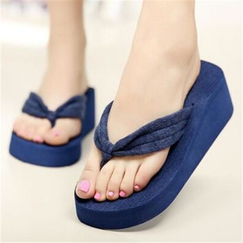 SIZE 42 Women Flip Flops Wedges Platform Slippers Beach Thick Heel Sandals Wedge Slipp