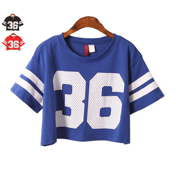 Hot Crop Top 2016 fashion Number 36 Print t shirt (Deals)