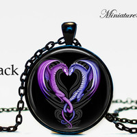 dragon Heart Necklace heart from dragon pendant valentine day gift dragon jewelry heart pendant for men for her for him his and her Pink
