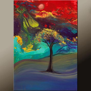 Abstract Canvas Art Contemporary Landscape Tree Painting 24x36 by Destiny Womack - dWo - A Place to Dream