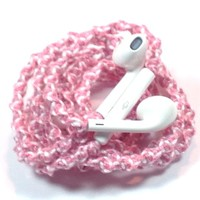 MyBuds Wrapped Tangle-Free Earbuds for iPhone | Pink & White Swirl GENUINE | with Microphone and Volume Control