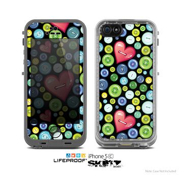 The Black Vintage Vector Heart Buttons Skin for the Apple iPhone 5c LifeProof Case