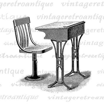 Digital Antique Desk and Chair Graphic Printable Image Download Artwork Vintage Clip Art Jpg Png Eps  HQ 300dpi No.2952