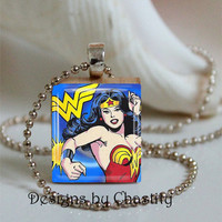 "Wonder Woman Scrabble Necklace ""Blue"""