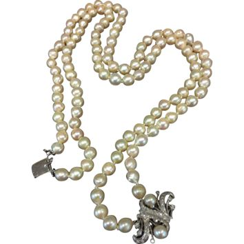 Vintage 1940s 1950s Semi Baroque Cultured Pearl Double Multi Strand 14kt Gold White 1.0cttw Carat Diamond Clasp Necklace