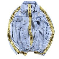 Original Brand off white jacket Autumn Winter kanye yeezus Men Women Denim Jacket super Vintage Loose Brand Jeans Coat Casual Gi