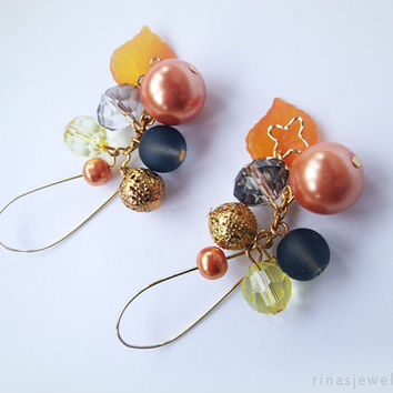 Faux pearl dangle earrings Long earrings Orange yellow black bead dangles Orange dangle earrings Long dangle earrings Gift for her