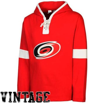 Old Time Hockey Carolina Hurricanes Grant Lace Pullover Fleece Hoodie - Red