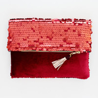 SAPHIRE 2 / Red sequin & velvet folded clutch bag - Ready to Ship