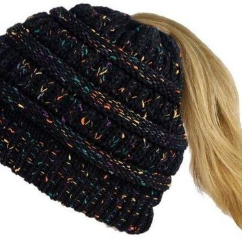 PONYTAIL BEANIE KNIT CAP BLACK MULTI