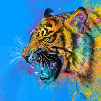 Angry Tiger Art Print by Olechka