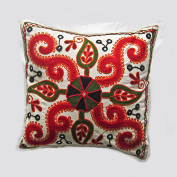 Vintage Indian handcrafted embroidery mirror work cushion cover, pillow cover, throw pillow, decorative pillow, suzani pillow cover 004