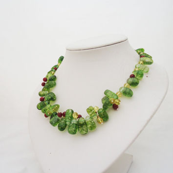 Green Quartz, Citrine and Carnelian Necklace, Handmade Quatz Necklace, Green Necklace, Gemstone Necklace in Green