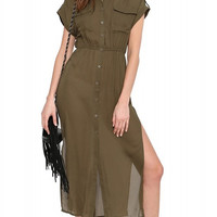 Brown Double Pocket Maxi Dress with Slits