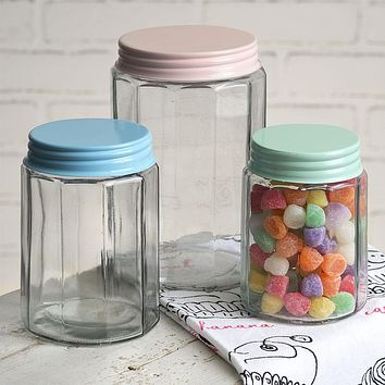 Set Of Three Faceted Glass Jars with Pastel Colored Lids