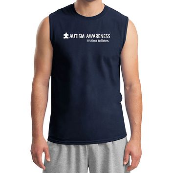 Buy Cool Shirts Autism Awareness Time to Listen Muscle Shirt