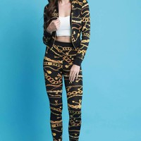 Chain Print Bomber Jacket with Leggings Set