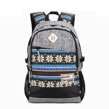 Canvas Laptop Bag Daypack Backpack School Bookbag Travel Bag