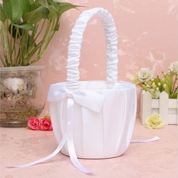 Wedding Party Love Case Ceremony White Bowknot Satin Ribbon Flower Girl Basket [7983471815]