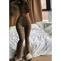 Women Fashion Sexy Leopard Two Piece Long Sleeve Crop Top Pant Set