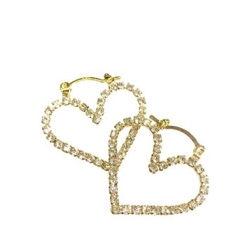 Heart Crystal Shape Earring Hoops Gold Plated