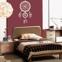 Housewares Vinyl Decal Indian Dream Catcher Feathers Bedroom Home Wall Art Decor Removable Stylish Sticker Mural Unique Design for Any Room