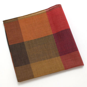1940s Watercolor Check Pocket Square