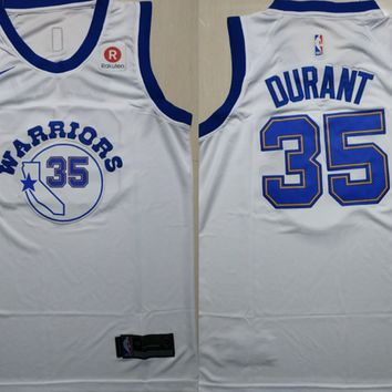 2018-19 Warriors #35 Kevin Durant White Basketball Jersey