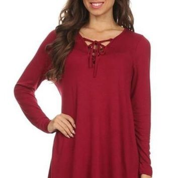 City Chic Lace Up Basic Top - burgundy !