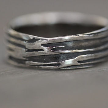 Men's Sterling Silver HAND SCRAPED Wood Grain Wedding Band , Wide Band, Rustic Embossed, Tree Bark, Eco Friendly
