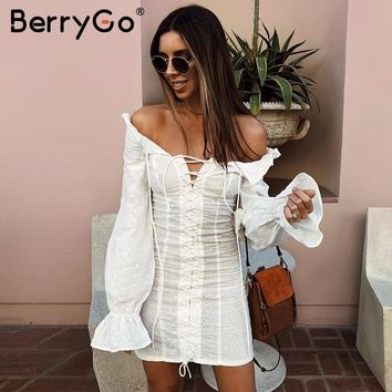 BerryGo Lace up sexy bodycon black dress Women off shoulder ruffles red short dress Casual long sleeve dress female