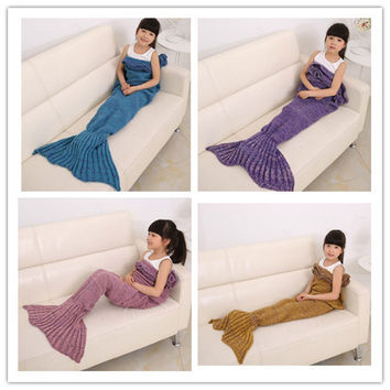 Cute Kids Mermaid Blanket Tail Knitting Ruffle Blanket Mermaid Tail Blanket Sofa Bed Snuggle Mermaid In 4 Different Colours