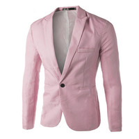 Casual Men's Suit Hooded One Button Men Pink Blazer # W102