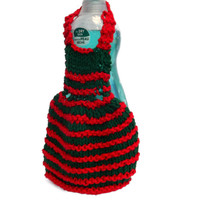 Dishcloth Apron - Red and Green Soap Dispenser Cover - kitchen accessory - Christmas decoration - dishcloth dress - country kitchen decor