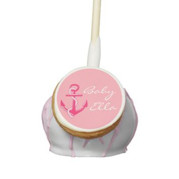 Pink Nautical Baby Shower Personalized Cake Pops
