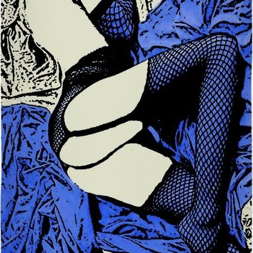Sleeping beauty, fetish erotic beach towel, sexy submissive girl in fishnet bodystocking