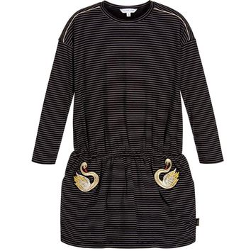 Marc Jacobs Girls Black and White Striped Swan Dress
