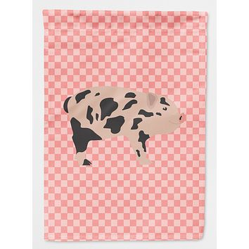 Mini Miniature Pig Pink Check Flag Canvas House Size BB7935CHF