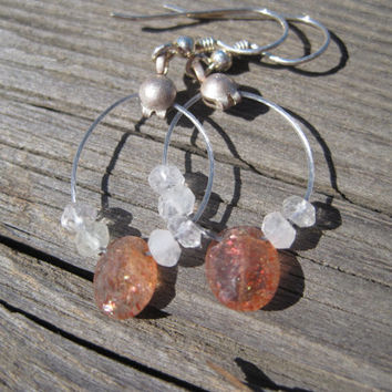 Oregon Sunstone, Flourite and Sterling Silver Earrings