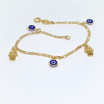 1-0730-g5 Gold Filled Evil Eye and Hamza Charm Bracelet.