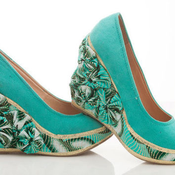 Mint Green Flower Ankara Wedge  Chains by teeesdesigns on Etsy