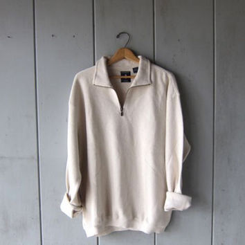 90s Cotton Knit Sweater Zip Up White Boyfriend Pullover Oversized Nubby Waffle Knit Sweater Basic Outdoors Mens Jumper Large