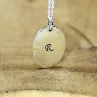 Sterling Silver Monogram Charm Necklace with Initial and Hammered Design -Solid 925 CH102